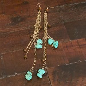 Turquoise Stone, Gold Chains; Wood Bead Earrings